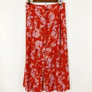 Free People Retro Midi Button Burnt Orange Skirt